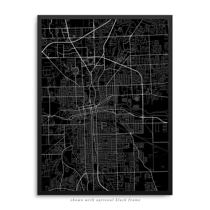 Fort Wayne IN City Street Map Black Poster