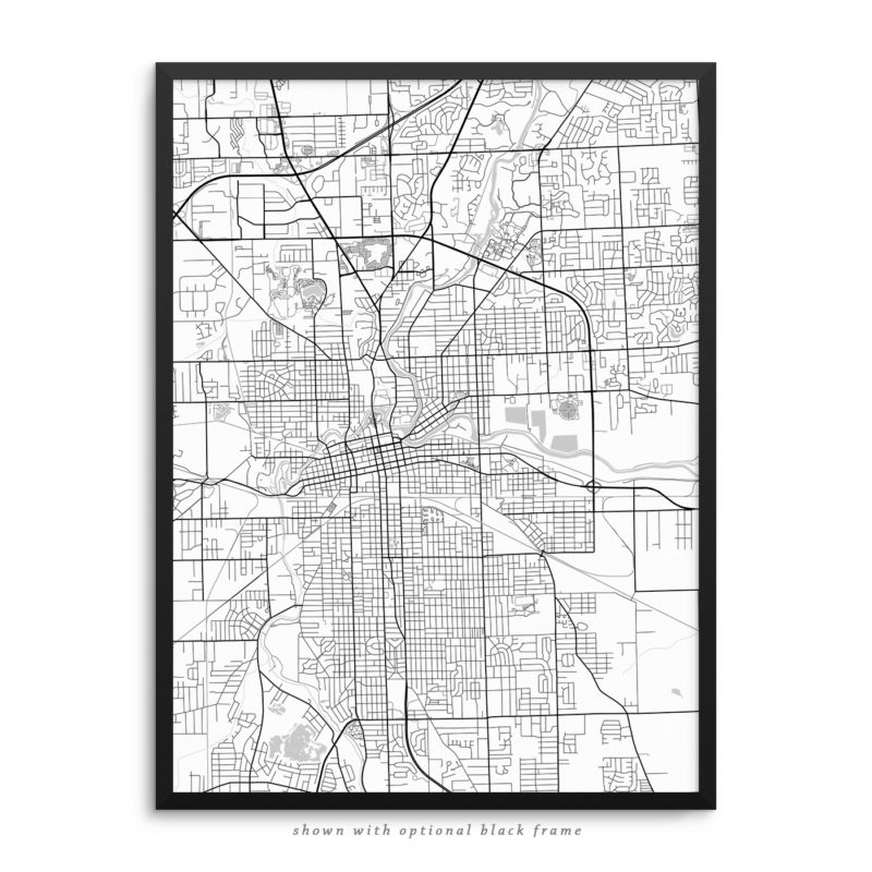 Fort Wayne IN City Street Map White Poster