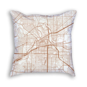 Fort Worth TX City Map Art Decorative Throw Pillow