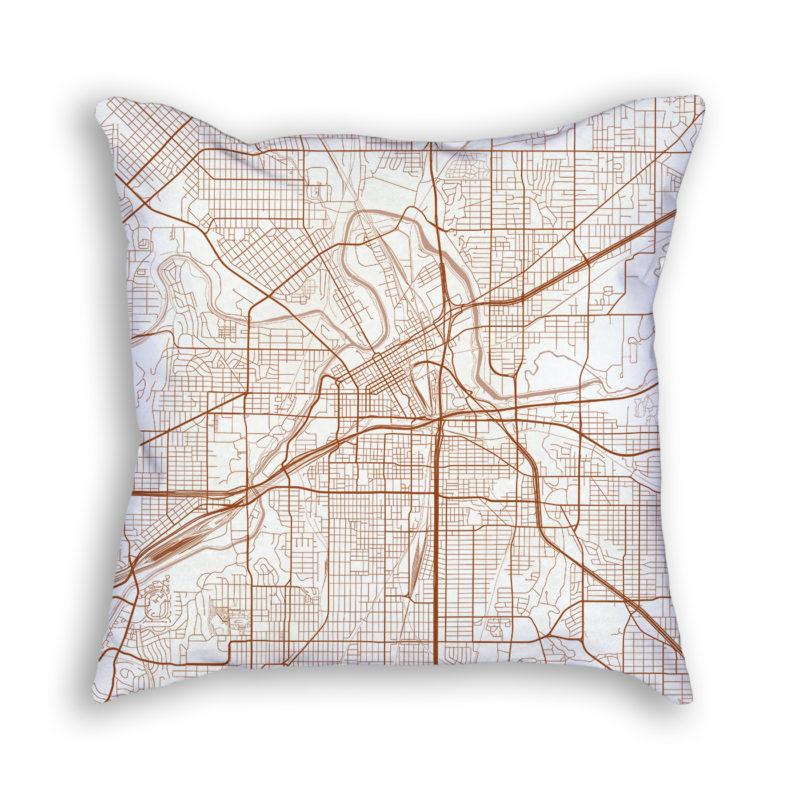 Fort Worth TX City Map Art Decorative Throw Pillow