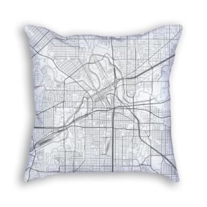 Fort Worth Texas City Map Art Decorative Throw Pillow
