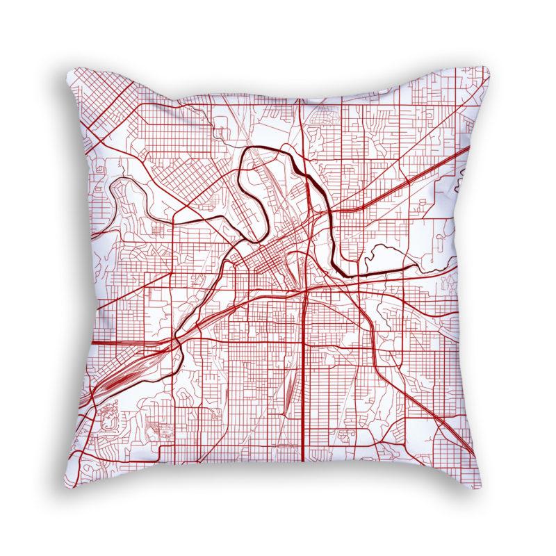 Fort Worth Texas City Map Art Decorative Throw Pillow