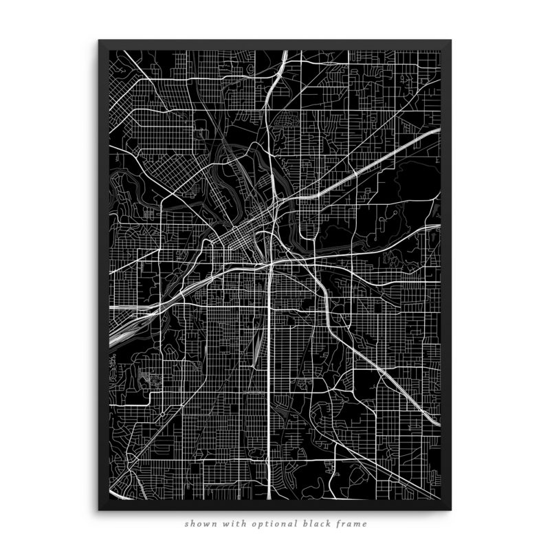 Fort Worth TX City Street Map Black Poster