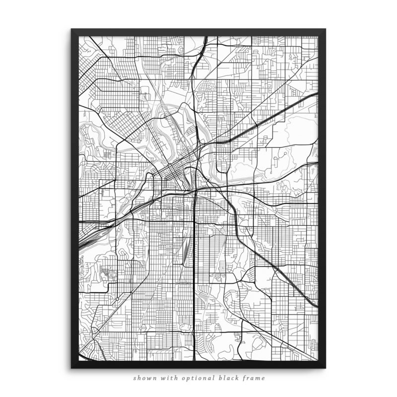 Fort Worth TX City Street Map White Poster