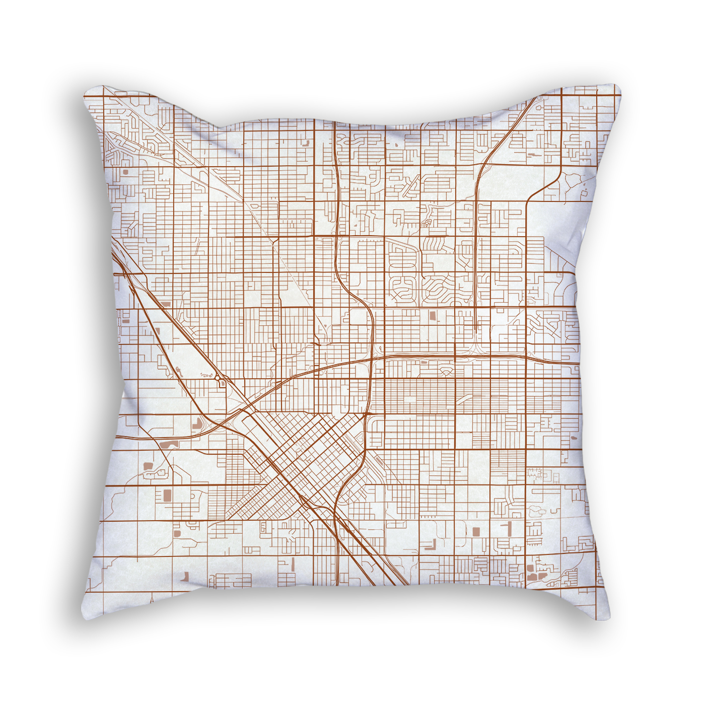 Fresno CA City Map Art Decorative Throw Pillow