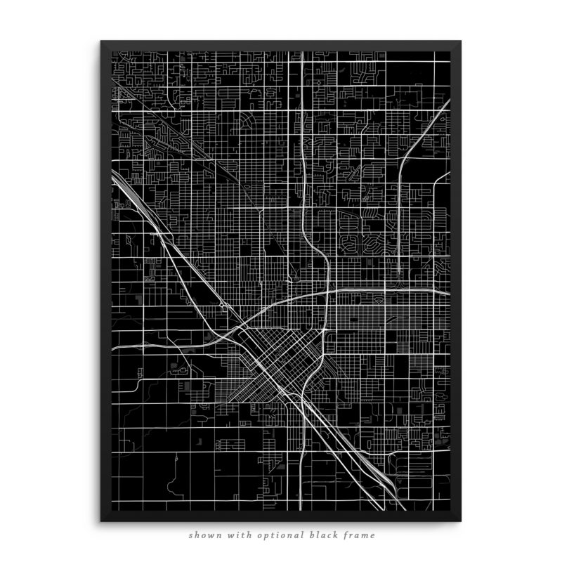 Fresno CA City Street Map Black Poster