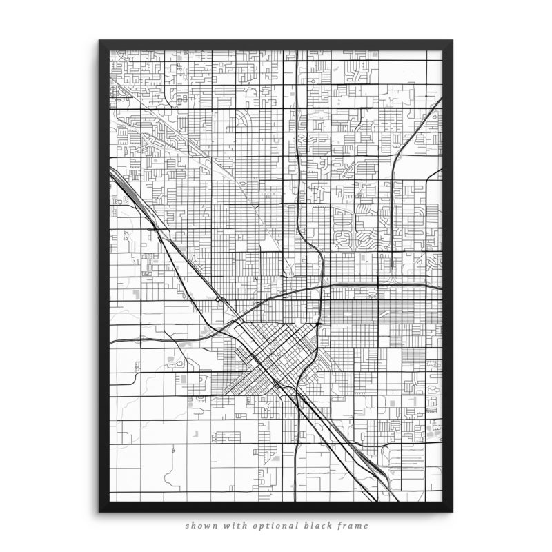 Fresno CA City Street Map White Poster