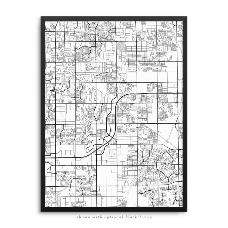Gilbert AZ City Street Map White Poster