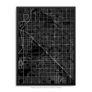 Glendale AZ City Street Map Black Poster