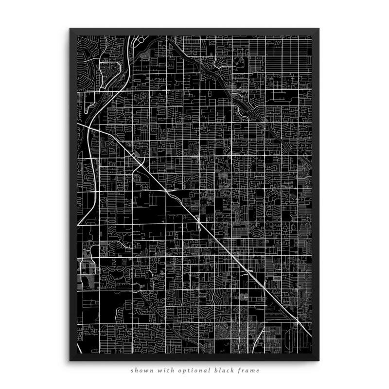 Glendale AZ City Street Map Black Poster