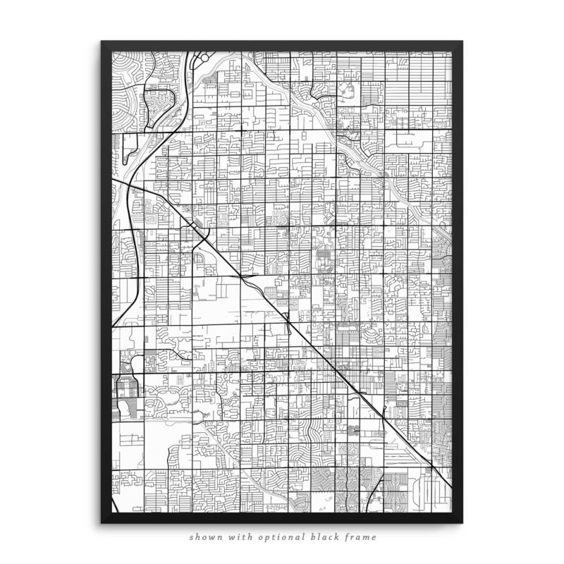 Glendale AZ City Street Map White Poster