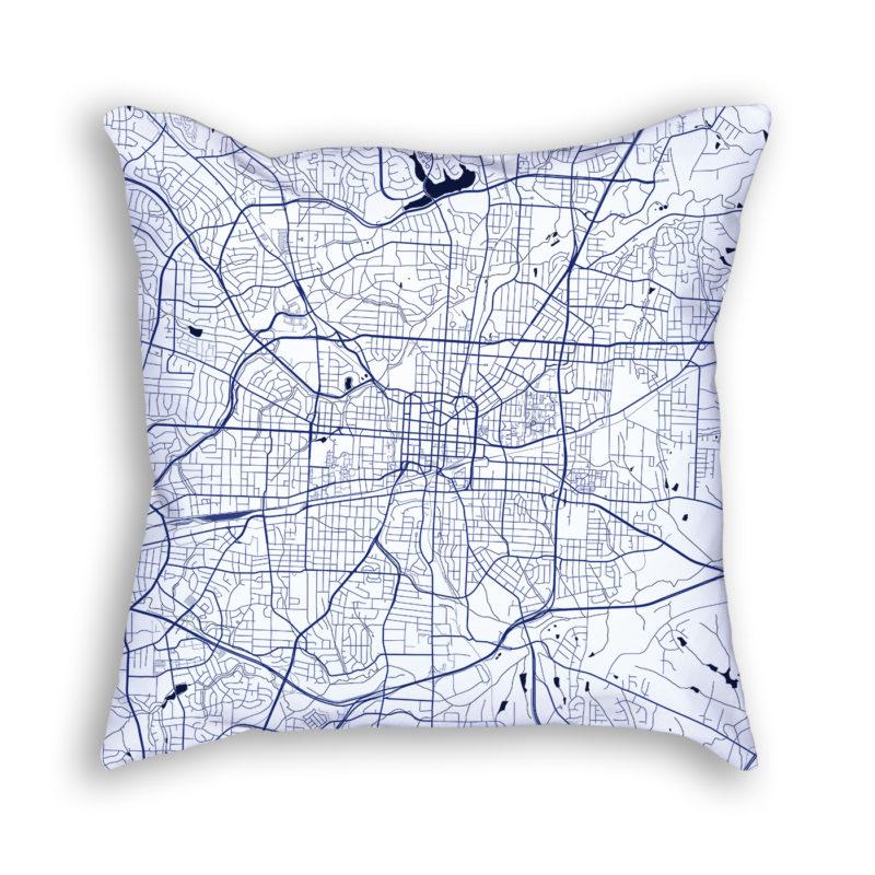 Greensboro North Carolina City Map Art Decorative Throw Pillow