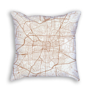 Greensboro NC City Map Art Decorative Throw Pillow