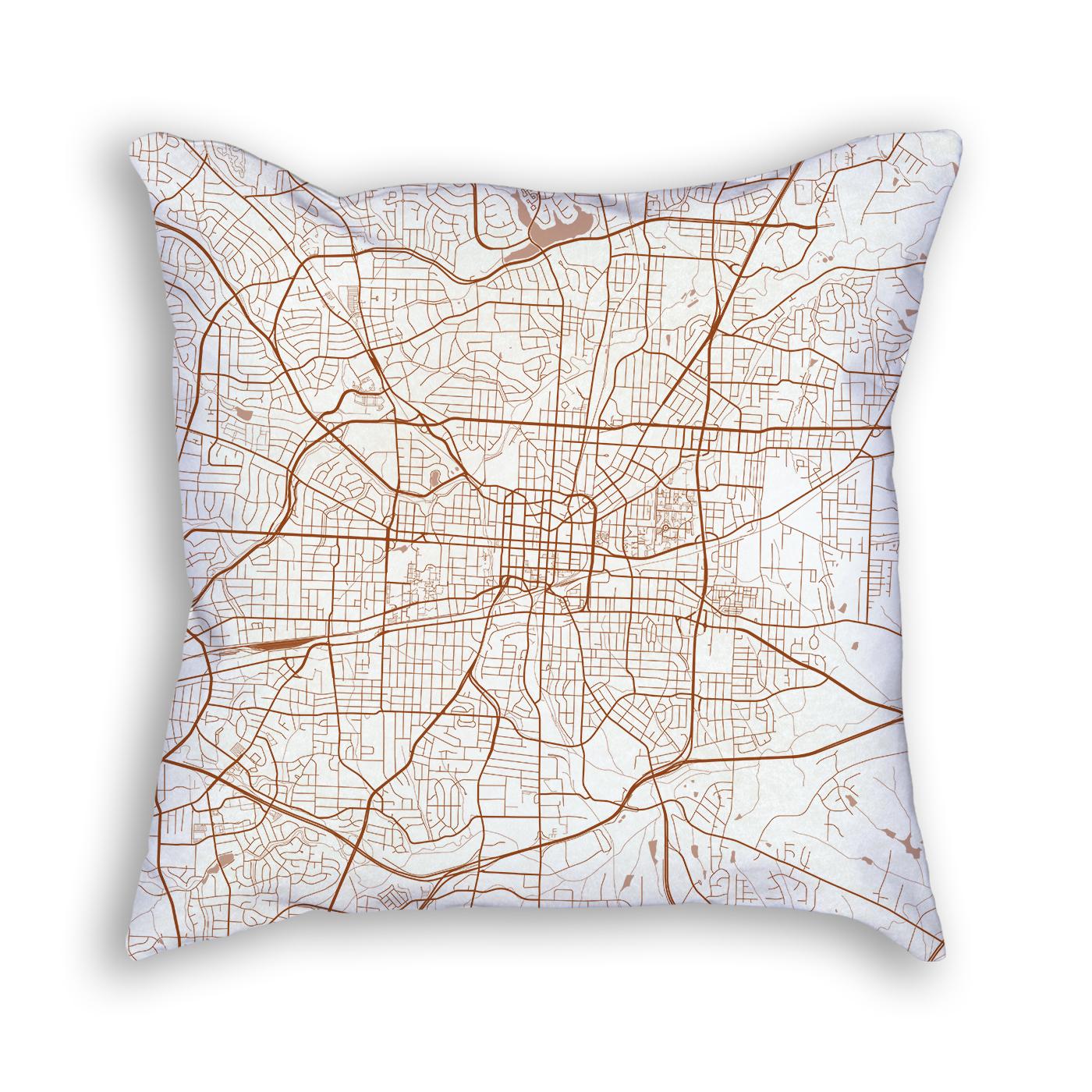 Greensboro NC City Map Art Decorative Throw Pillow