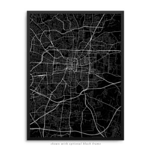Greensboro NC City Street Map Black Poster