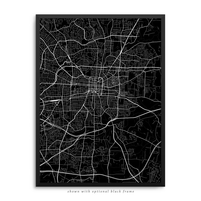 Greensboro NC City Street Map Black Poster