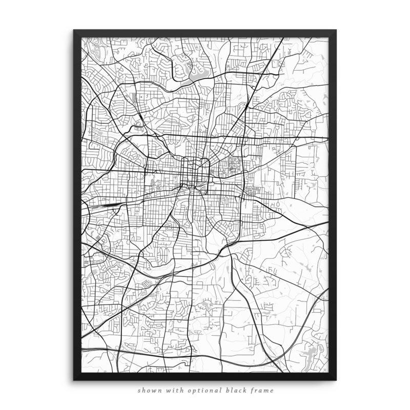 Greensboro NC City Street Map White Poster