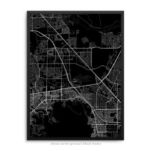 Henderson NV City Street Map Black Poster