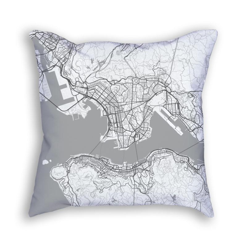 Hong Kong China City Map Art Decorative Throw Pillow