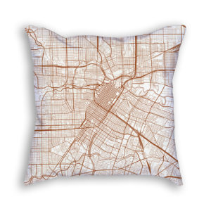 Houston TX City Map Art Decorative Throw Pillow