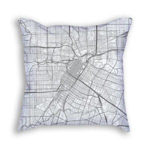Houston Texas City Map Art Decorative Throw Pillow
