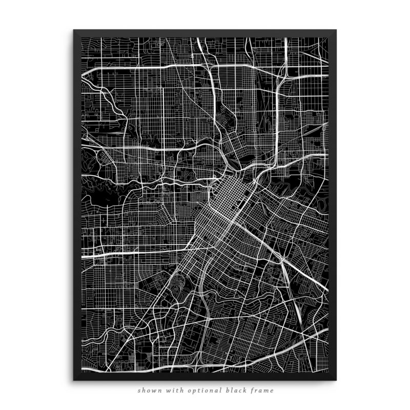 Houston TX City Street Map Black Poster