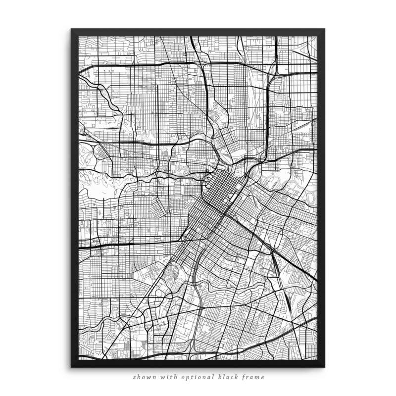 Houston TX City Street Map White Poster