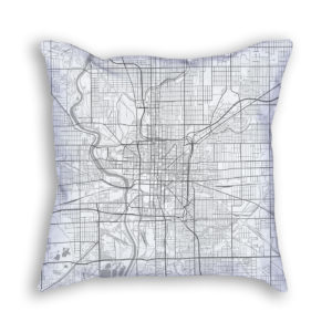 Indianapolis Indiana City Map Art Decorative Throw Pillow