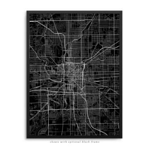 Indianapolis IN City Street Map Black Poster