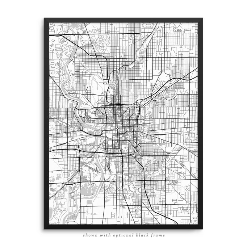 Indianapolis IN City Street Map White Poster