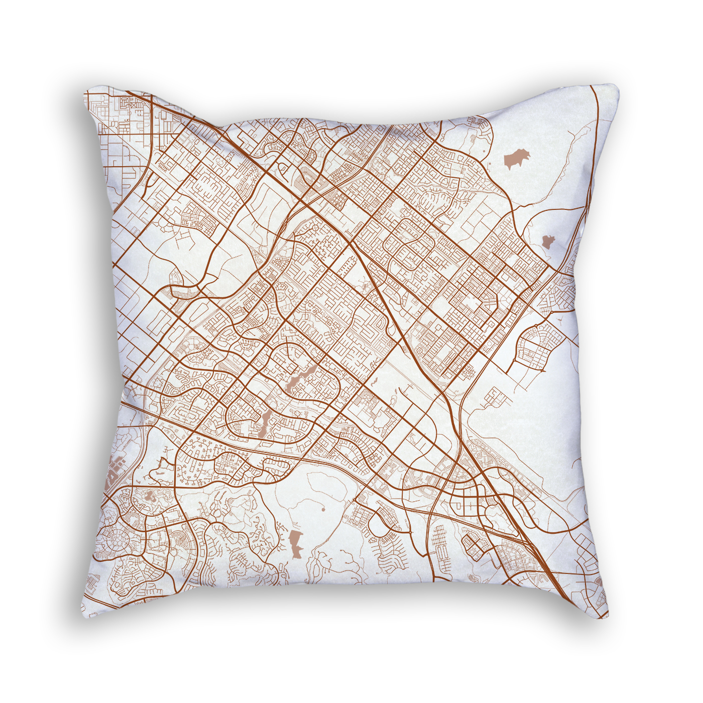 Irvine CA City Map Art Decorative Throw Pillow
