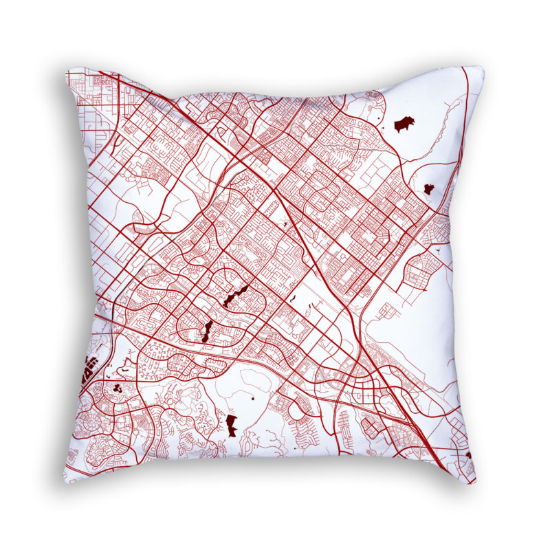 Irvine California City Map Art Decorative Throw Pillow