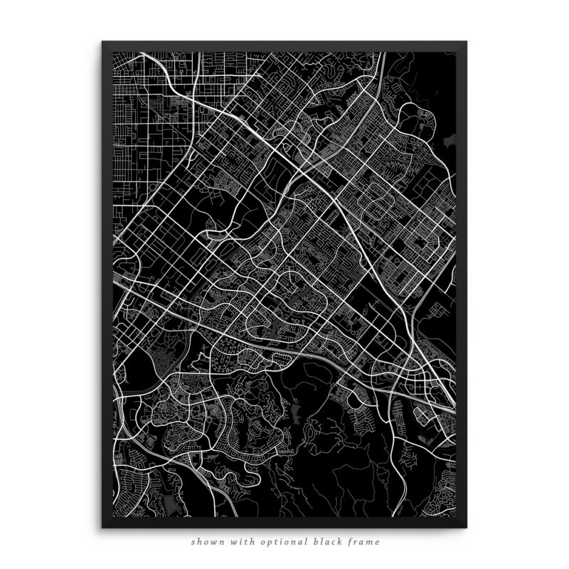 Irvine CA City Street Map Black Poster