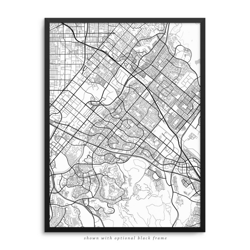Irvine CA City Street Map White Poster
