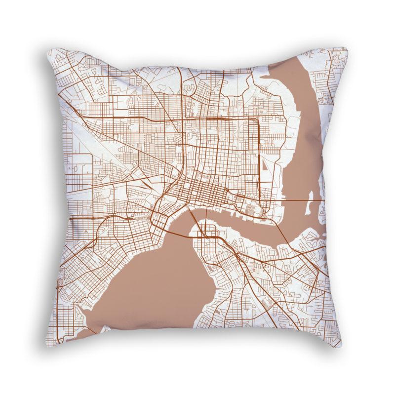 Jacksonville Florida City Map Art Decorative Throw Pillow