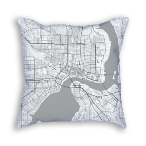 Jacksonville Florida City Map Art Decorative Throw Pillow