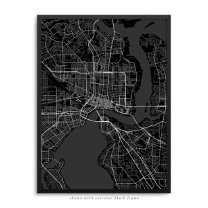 Jacksonville FL City Street Map Black Poster