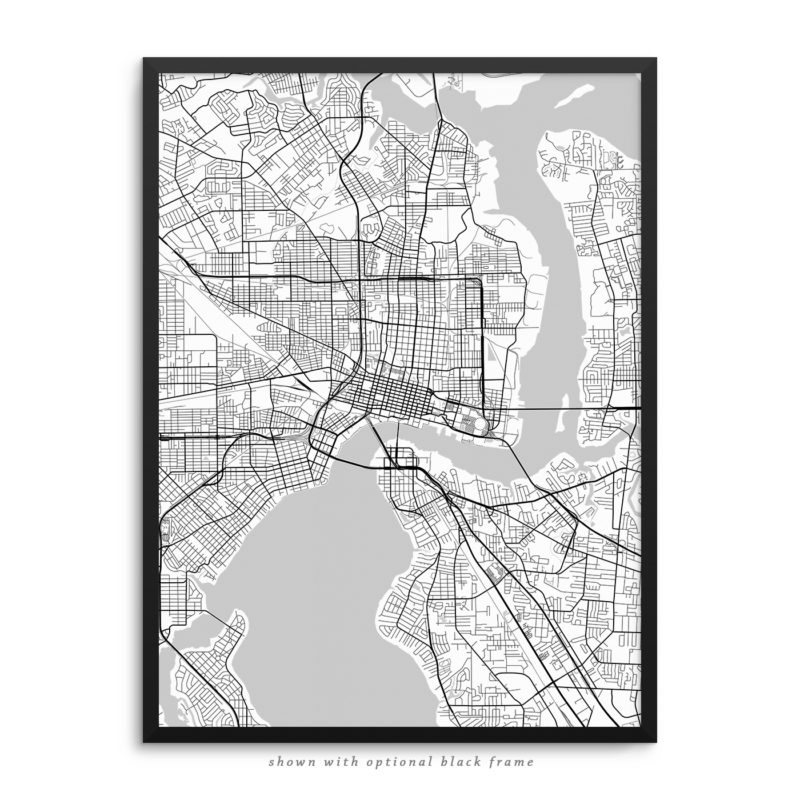 Jacksonville FL City Street Map White Poster