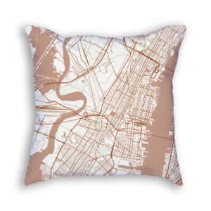 Jersey City New Jersey City Map Art Decorative Throw Pillow