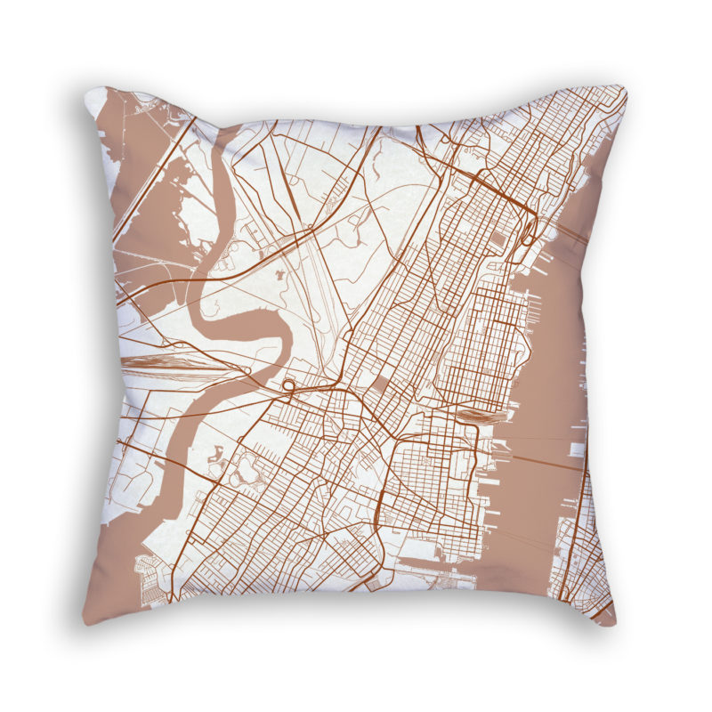 Jersey City New Jersey City Map Art Decorative Throw Pillow