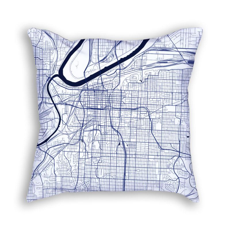 Kansas City Missouri City Map Art Decorative Throw Pillow