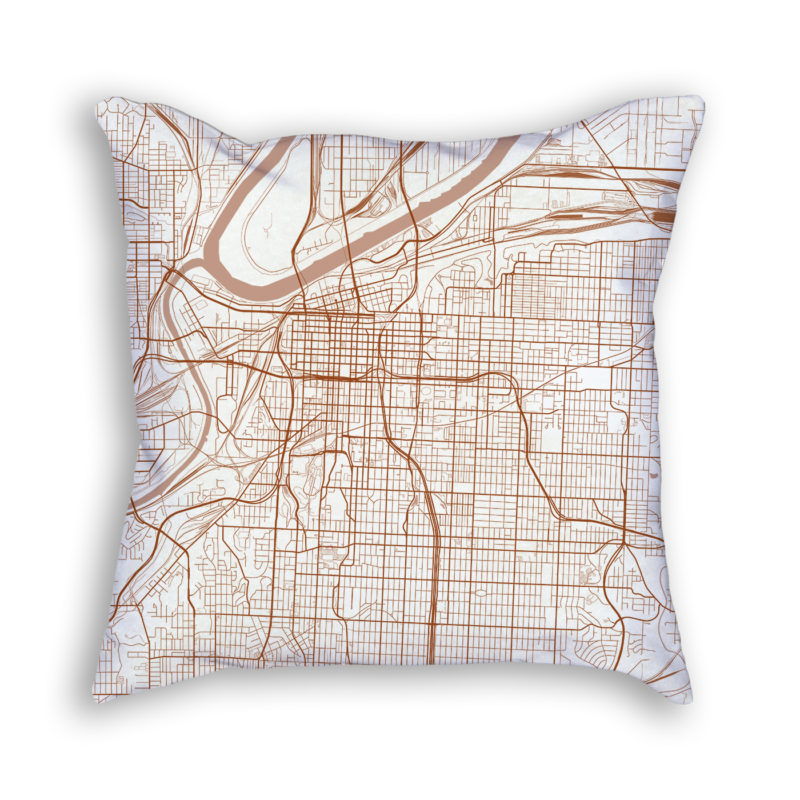 Kansas City Missouri City Map Art Decorative Throw Pillow