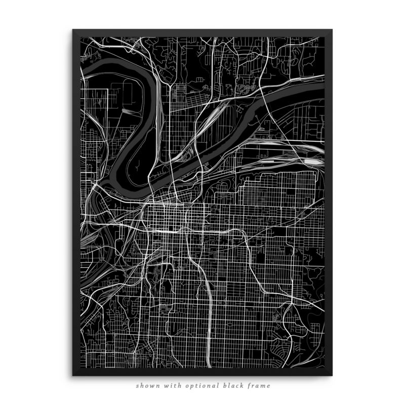 Kansas City MO City Street Map Black Poster