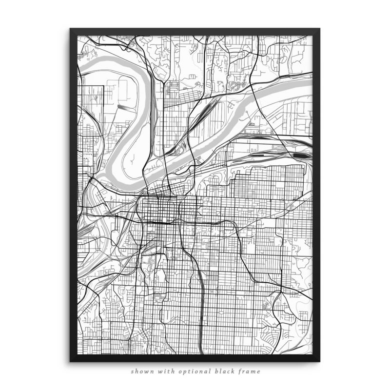Kansas City MO City Street Map White Poster