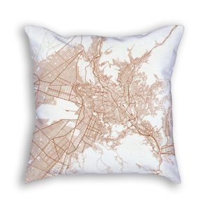 La Paz Bolivia City Map Art Decorative Throw Pillow