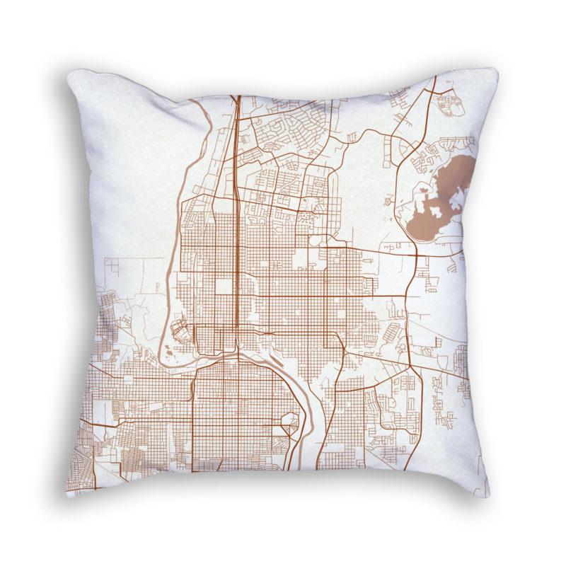 Laredo TX City Map Art Decorative Throw Pillow