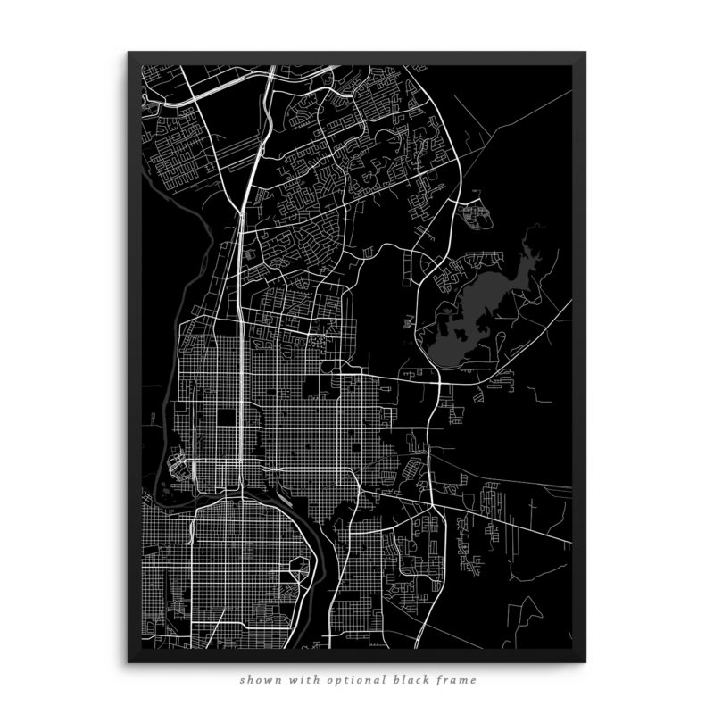 Laredo TX City Street Map Black Poster