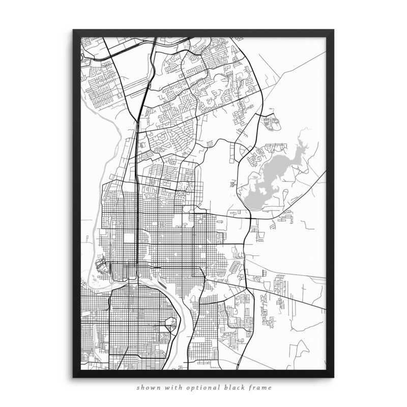 Laredo TX City Street Map White Poster