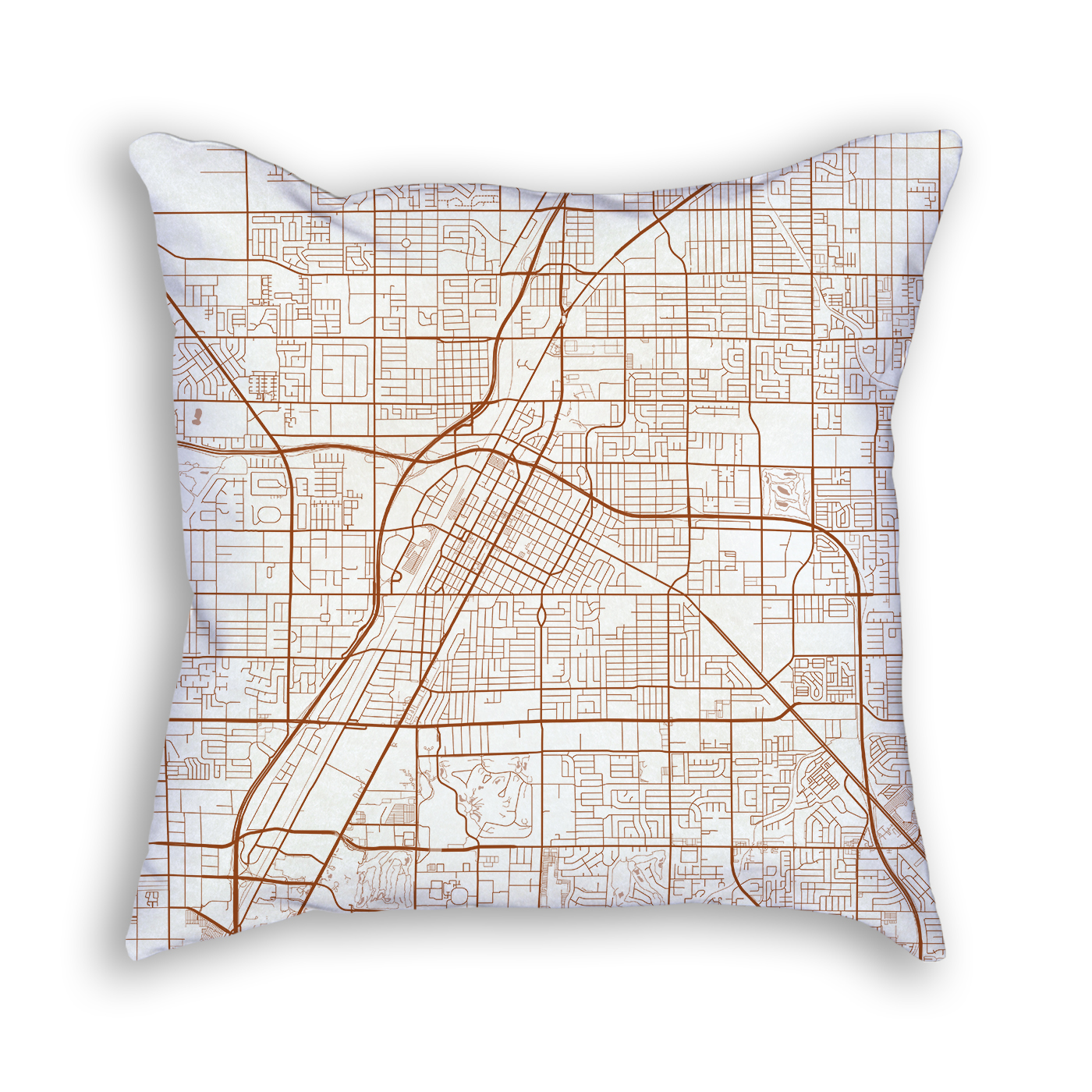 Las Vegas Nevada City Map Art Decorative Throw Pillow