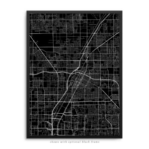 Las Vegas NV City Street Map Black Poster